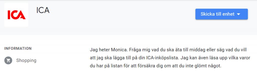 ICA röstassistent Monica Smartahogtalare.se Sverige Google Asistent