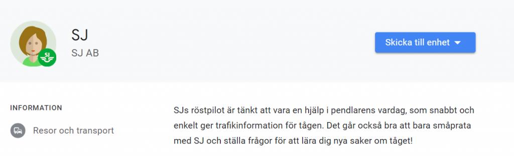 SJ rostassistent google assistent smartahogtalare.se Sverige