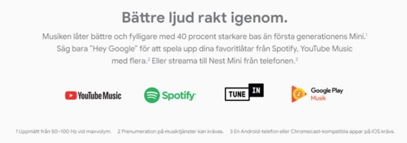 google nest mini spotify youtube tune in google play